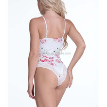 Sexy Summer White Strap Floral Printed Women Lace Bodysuit Wholesale