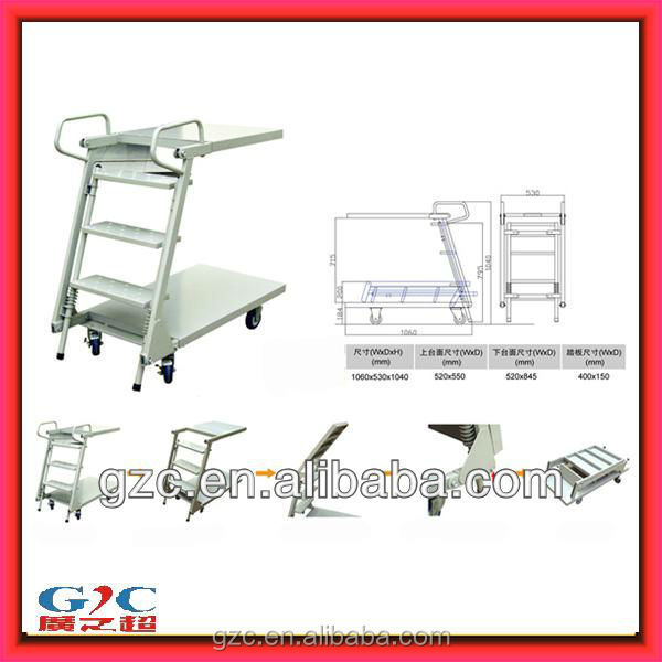 Warehouse or Library Folding Movable Stair Steel Step Ladder