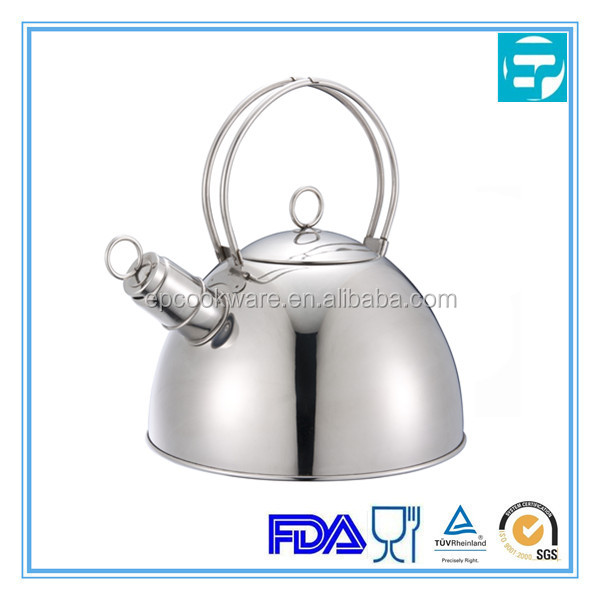 Brushed stainless steel wire handle whistling tea kettle