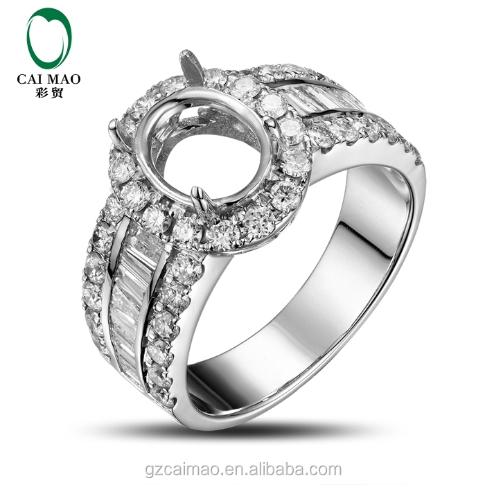 6.5x8.5mm Oval Shape 18K White Gold Natural 1.58ct Round&Baguette Cut Diamond Engagement Semi Mount Ring Jewelry Wholesale