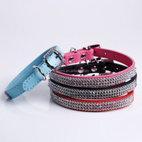 Trade Assurance New Dog Cat Pet Collars porduct PU Leather Collar with Full Bling Crystal Diamond Rhinestone design