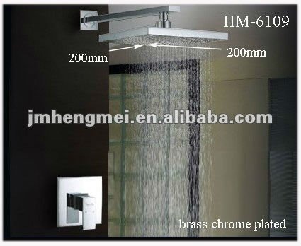 Hotel bathroom overhead rain shower system