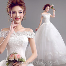 Wholesale Stylish Wedding Dress Lace Appliqued Ball Gown with sleeveless Tulle Wedding Dress