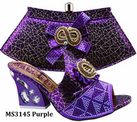 MS3145 new design purple sexy african lady shoes Italian high heel shoes and matching women bag set for wedding party 2016