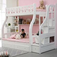 Children bedroom furniture cheap queen size solid wood kids bunk bed with bookshelf