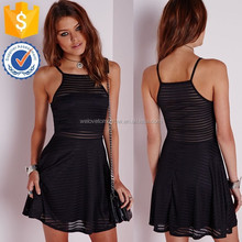 High quality black skater dress with a figure flattering fit boxy neckline short midi dress