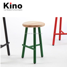 Solid Wood Legs/Steel Tube Legs Frame Powder Coating Finished Solid Wood Top Varnished Color Low Stool