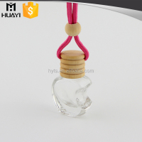apple shape clear glass empty car perfume bottle with wooden cap