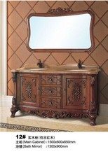2014 Antique design double wooden bathroom vanity cabinet was made from solid wood for bathroom