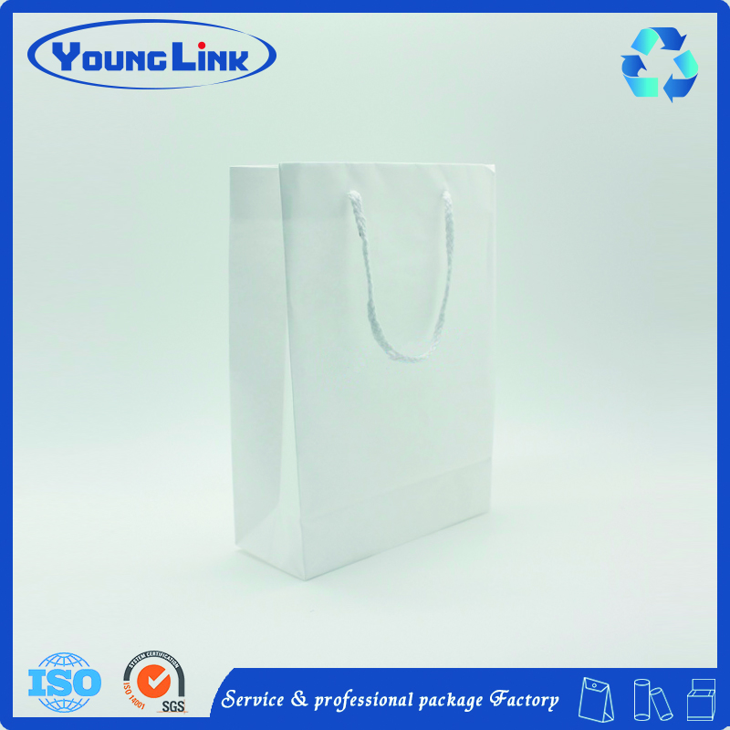 cheap white customized kraft paper shopping bags