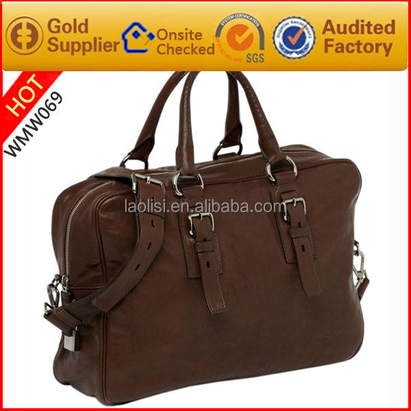 Brand design High capacity Genuine leather handbags travel weekend bags with shoulder strap