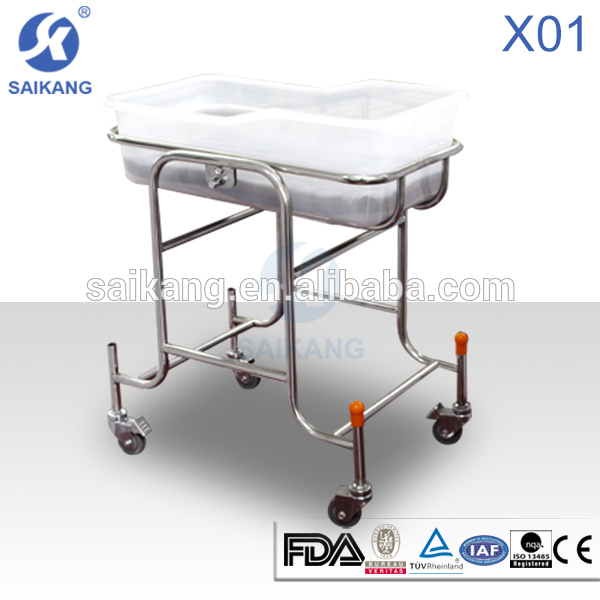 X01 stainless steel hospital baby cot,bassinet wicker baby basket