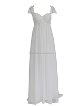 Hottest simple design affordable sweetheart white chiffon empire wedding dress 2017 for pregnant women