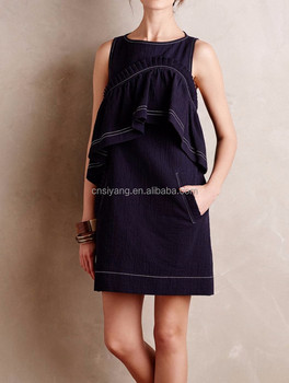 2015 fashion sleeveless denim dress patterns, latest short denim dress for women SYA15265