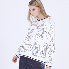 wholesale custom women hoodies V collar pullover off-white dropped shoulder all over print hoodies sweatshirts