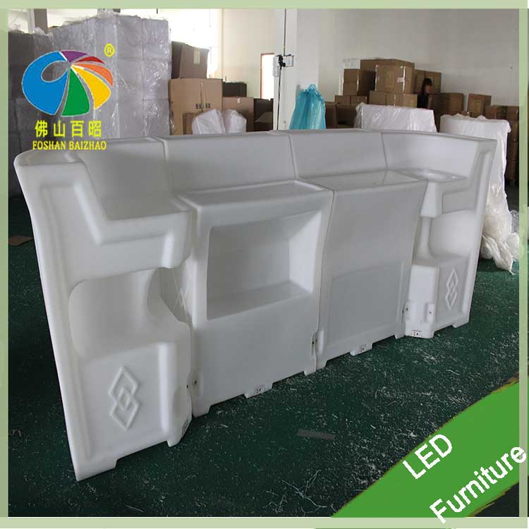 Foshan PE plastic colors change top LED light bar counters square pub table for night club outdoor use