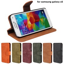 For samsung galaxy S5 i9600 retro style Frosted wallet leather case; Cover case for samsung galaxy S5 phone unlocked