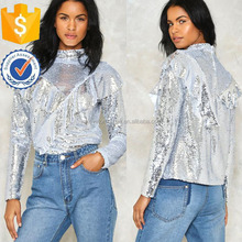 Sequin Silver Top Fashion Women Garment Clothing Adornos Para Ropa (TS0982T)