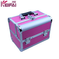 Professional Aluminum Pink ABS Cosmetic Makeup Artist Train Case