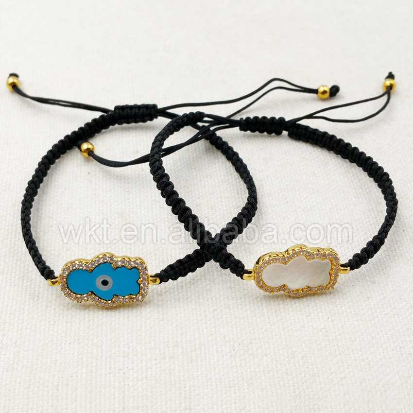 WT-B289 Wholesale Adjustable Black Braided Rope Shell Charm Bracelet, Blue And White Evil Eye With CZ Micro Pave Shell Bracelet