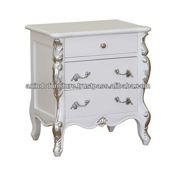 White bedside table with silver carved and 3 drawers buy for Buy white bedside table