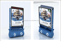 Solar advertising scrolling trash bin/outdoor scrolling advertising light box