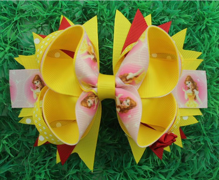 Princess Belle hair bow Stacked Pink yellow hair bow with red rose