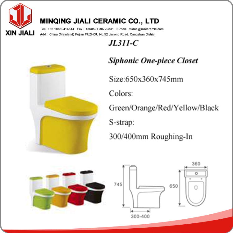 JL311-C Good Quality Chinese WC Toilet,Siphonic Bathroom Colored Toilet