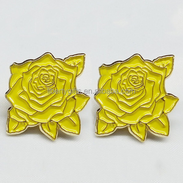 wholesale metal yellow rose lapel pin