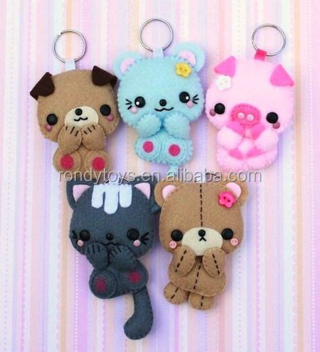 Soft & Plush Toy Animal Felt Stuffed Sheep Pattern Keychain