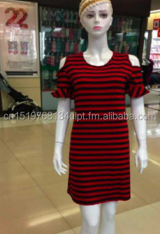 One piece stripe dress red color