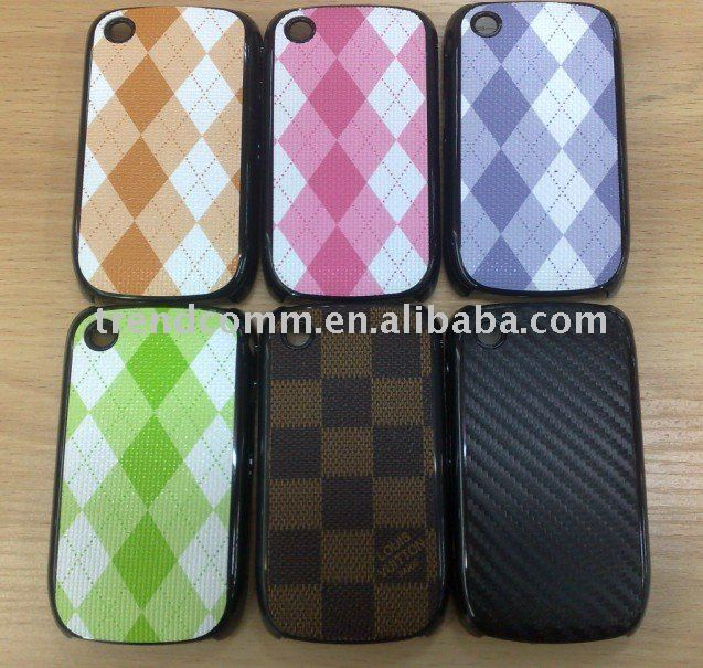 new case for blackberry curve 8520 with pu leather sticker
