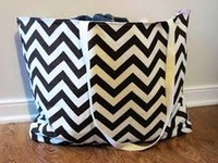 Monogram seahorses chevron tote beach bag