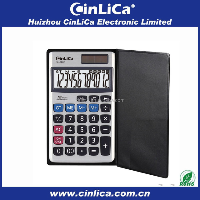 notebook funny pocket calculator solar cell with leather cover SL-520P