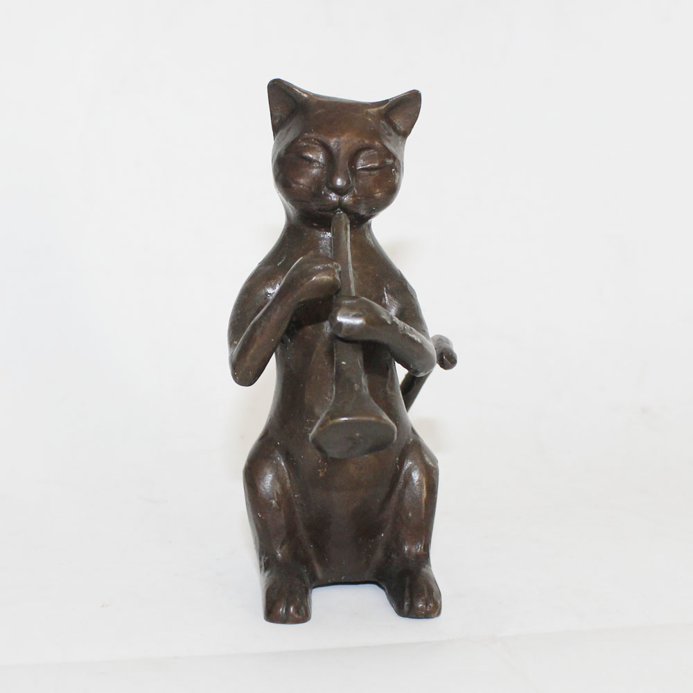Trombone Cats Statues Bronze Animal Sculptures For Home Decoration