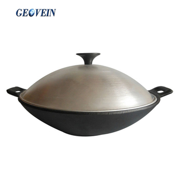 cast iron vegetable oil chinese wok with cover flat bottom