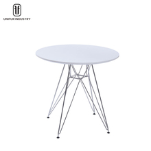 The cheapest white/red/black round MDF oriental coffee table with chromed steel legs
