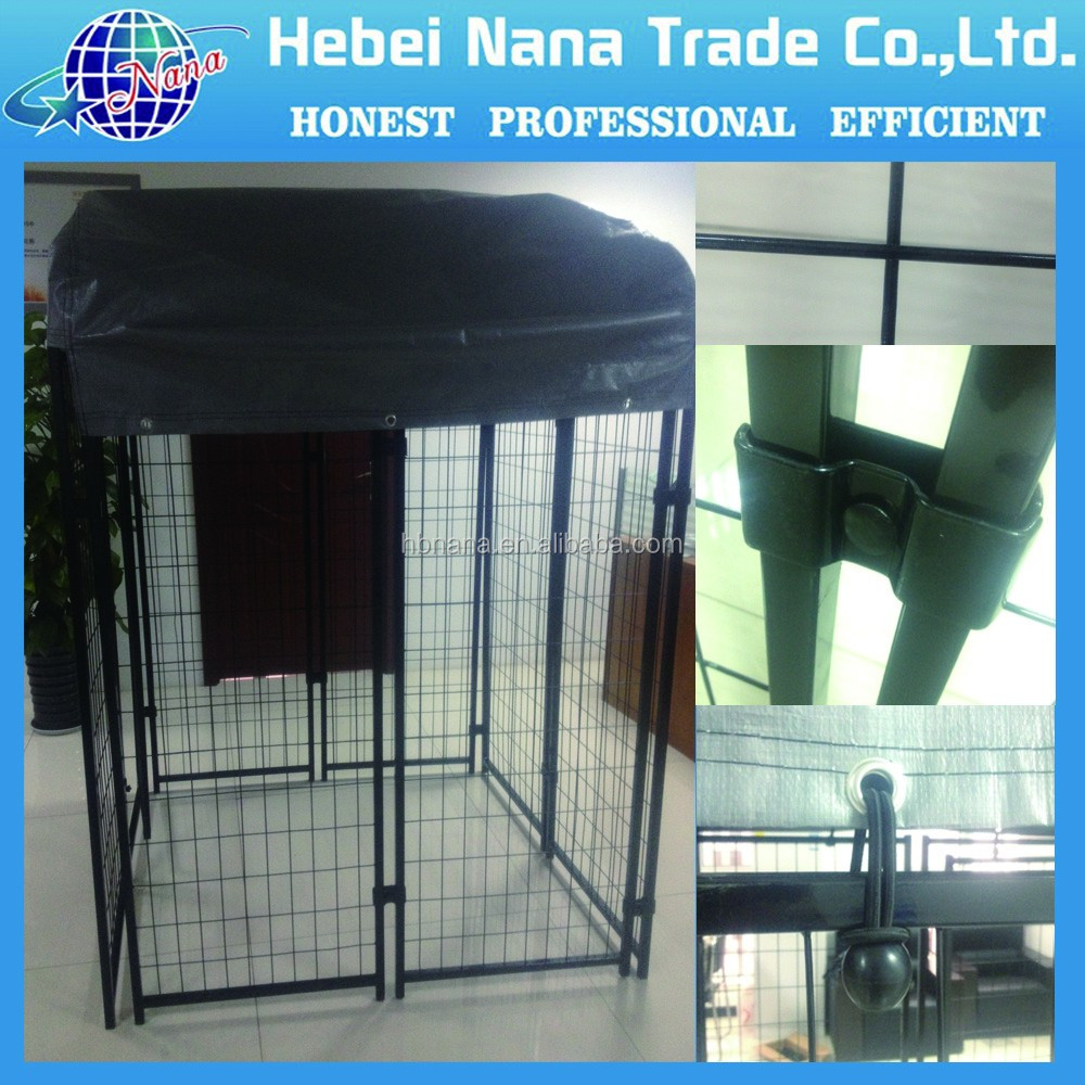 Large dog kennels with top cover / dog wire mesh cage / metal cage