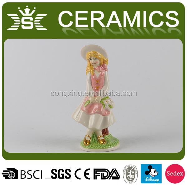 Wholesale Hand Painting Ceramic Cute Girl Gift Decor