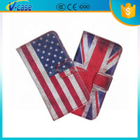 Retro flag wallet mobile phone leather case for Samsung S4 mini i919