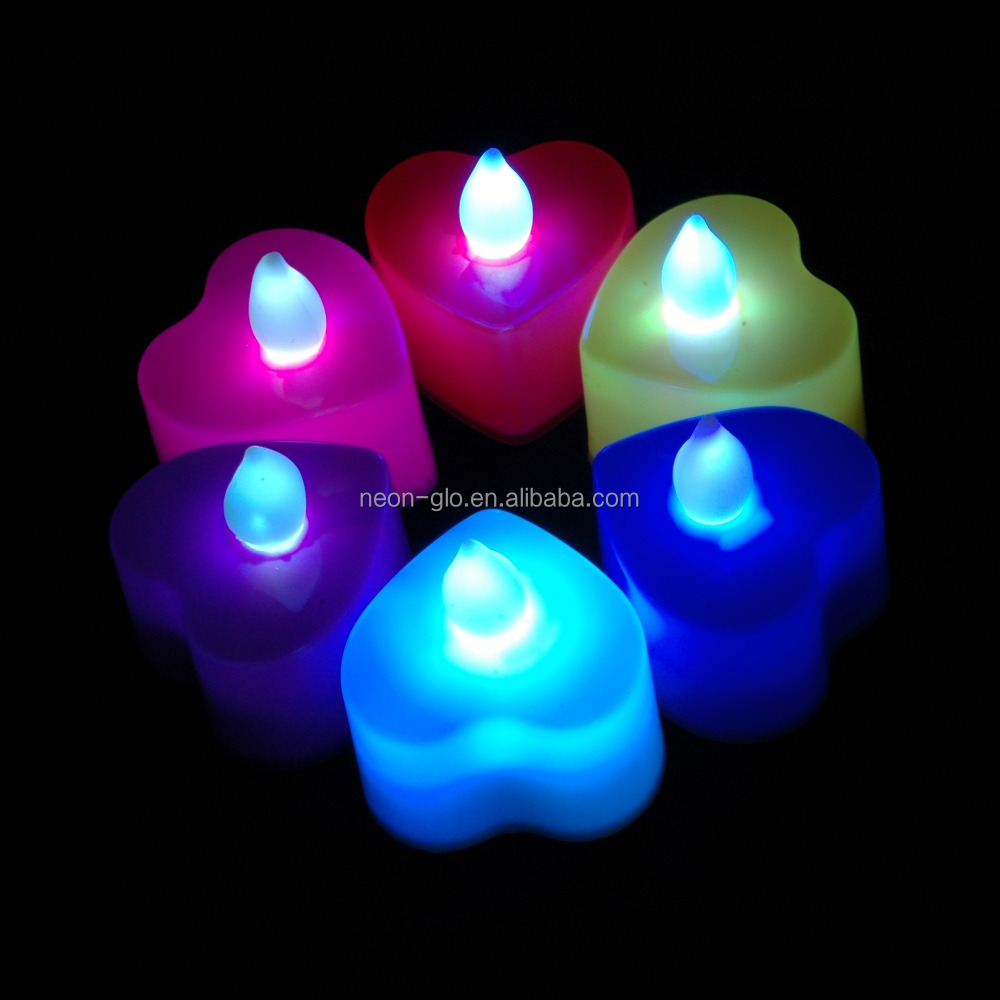 Blister Card Packing Heart Shaped LED TeaLight Candles with Timer