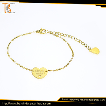 Wholesale Elegant Heart Shape Mother Day Stainless Steel Jewelry Charm Bracelet Jewelry For Mother Gift