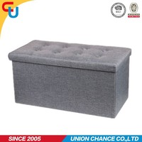 plain color easy foldable storage bench foldable fabric ottoman with good quality