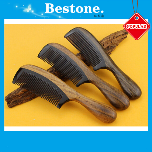 Natural Ox Horn Green Sandalwood Wood Comb