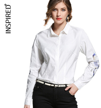 Women Blouse Fashion lapel embroidery long-sleeved shirt