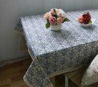 Retro Blue and white porcelain Chinese classical linen tablecloths
