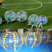 High quality football games yellow dotted inflatable human bubble balls/bumper balls/soccer bubbles