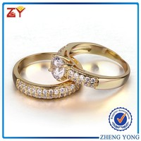 18k yellow gold plating sterling silver ring cubic zirconia double rings