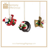 Snowman in Hat Resin Christmas Ornaments