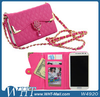 Flip Leather Phone Case for Samsung Galaxy S4 i9500, for Galaxy S4 Wallet Handbag Case With Long Chain